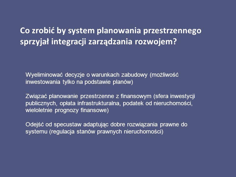 Co zrobić by system planowania przestrzennego sprzyjał integracji zarządzania rozwojem? Wyeliminować decyzje o warunkach zabudowy (możliwość inwestowa