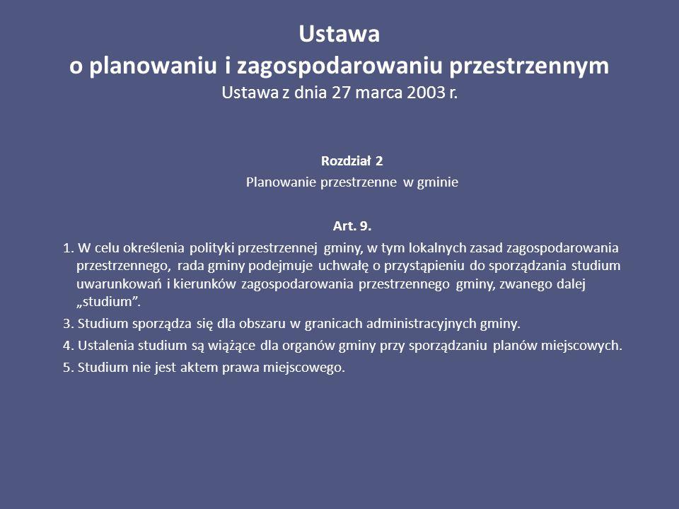 Ustawa o planowaniu i zagospodarowaniu przestrzennym Ustawa z dnia 27 marca 2003 r. Rozdział 2 Planowanie przestrzenne w gminie Art. 9. 1. W celu okre