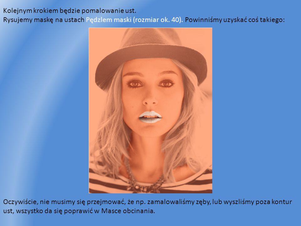 Kolejnym krokiem będzie pomalowanie ust. Rysujemy maskę na ustach Pędzlem maski (rozmiar ok. 40). Powinniśmy uzyskać coś takiego: Oczywiście, nie musi