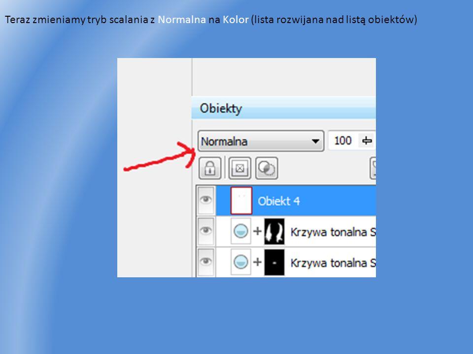 Teraz zmieniamy tryb scalania z Normalna na Kolor (lista rozwijana nad listą obiektów)