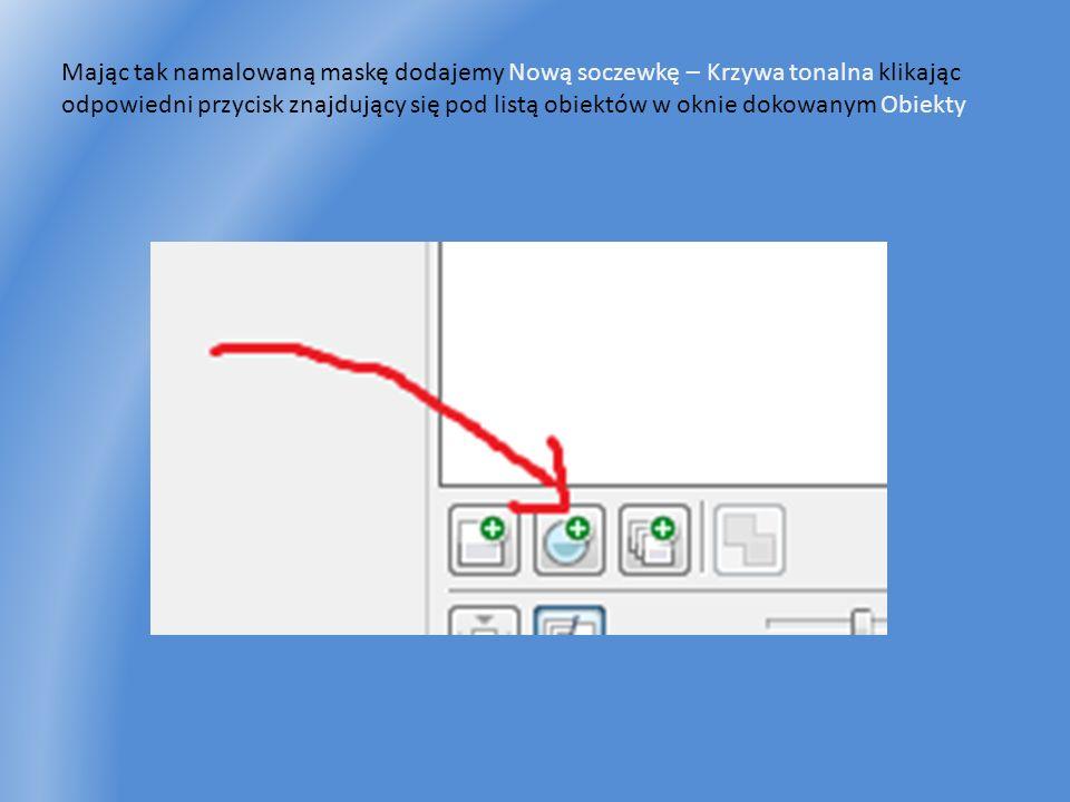 Mając tak namalowaną maskę dodajemy Nową soczewkę – Krzywa tonalna klikając odpowiedni przycisk znajdujący się pod listą obiektów w oknie dokowanym Ob