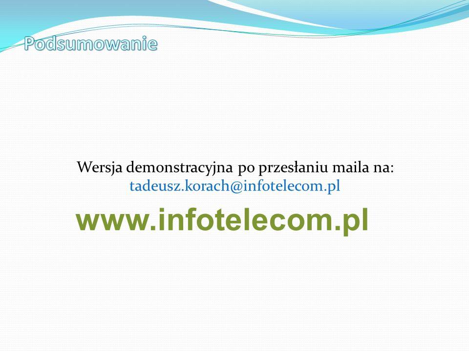 Wersja demonstracyjna po przesłaniu maila na: tadeusz.korach@infotelecom.pl www.infotelecom.pl