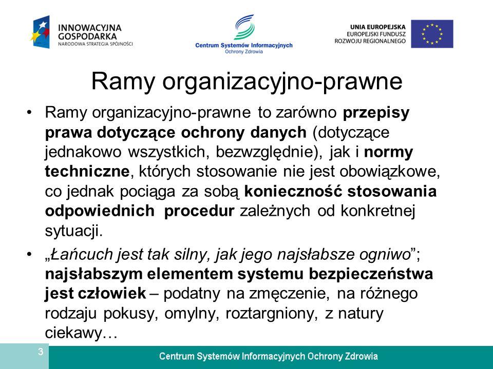 3 Ramy organizacyjno-prawne Ramy organizacyjno-prawne to zarówno przepisy prawa dotyczące ochrony danych (dotyczące jednakowo wszystkich, bezwzględnie