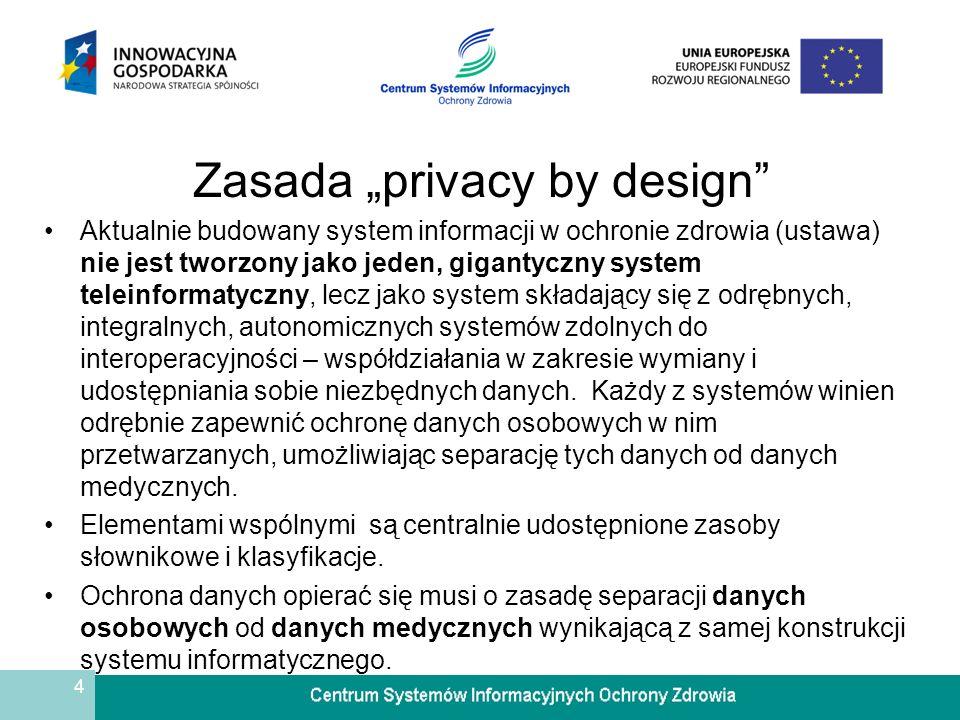 4 Zasada privacy by design Aktualnie budowany system informacji w ochronie zdrowia (ustawa) nie jest tworzony jako jeden, gigantyczny system teleinfor