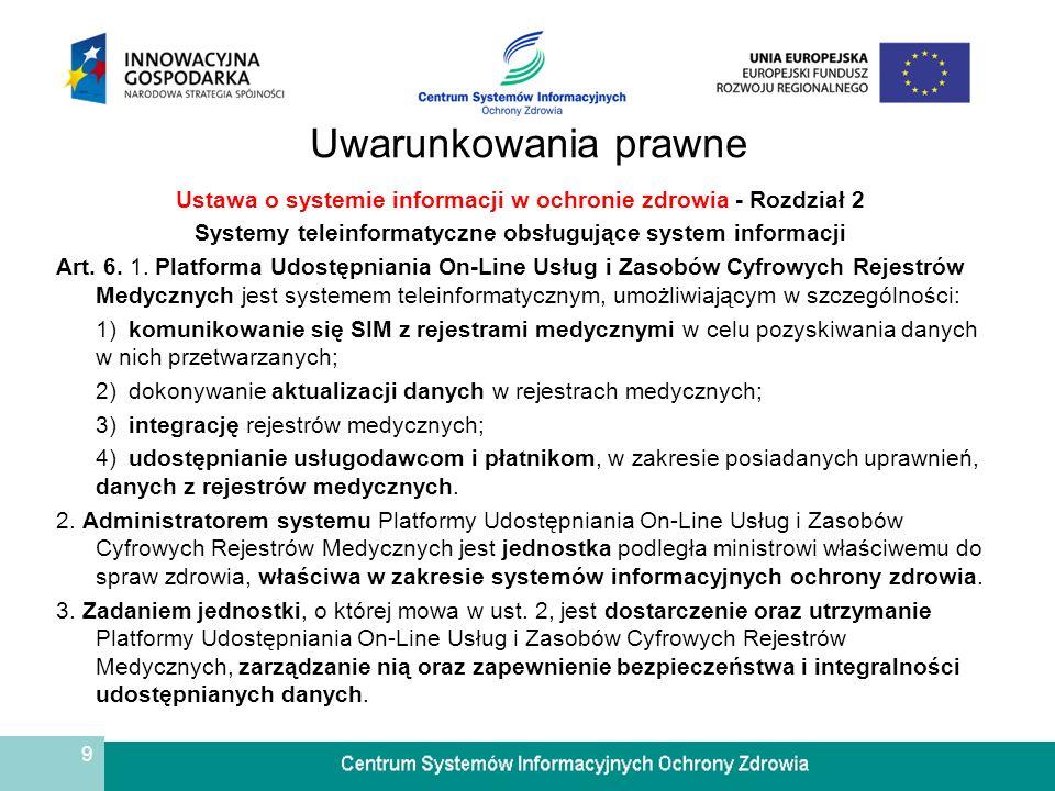 9 Uwarunkowania prawne Ustawa o systemie informacji w ochronie zdrowia - Rozdział 2 Systemy teleinformatyczne obsługujące system informacji Art. 6. 1.