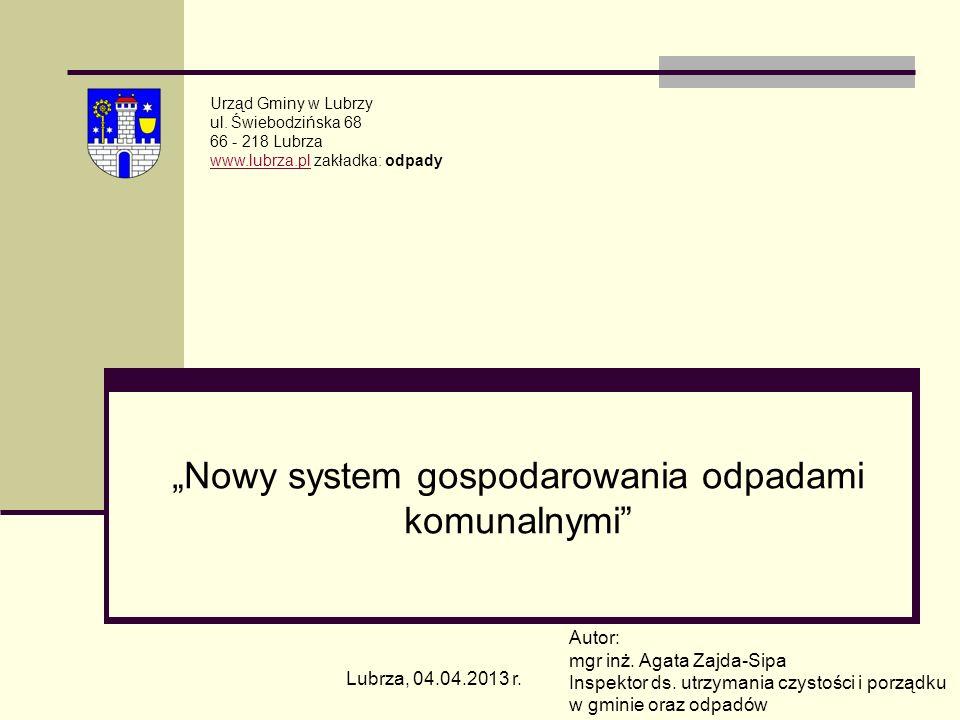 Nowy system gospodarowania odpadami komunalnymi Urząd Gminy w Lubrzy ul. Świebodzińska 68 66 - 218 Lubrza www.lubrza.plwww.lubrza.pl zakładka: odpady