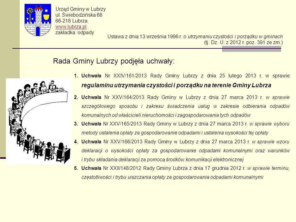 Rada Gminy Lubrzy podjęła uchwały: Urząd Gminy w Lubrzy ul. Świebodzińska 68 66-218 Lubrza www.lubrza.pl zakładka: odpady Ustawa z dnia 13 września 19