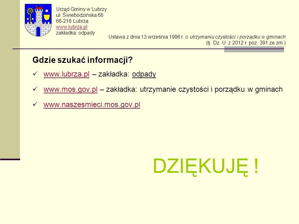 Gdzie szukać informacji? www.lubrza.pl – zakładka: odpady www.lubrza.pl www.mos.gov.pl – zakładka: utrzymanie czystości i porządku w gminach www.mos.g