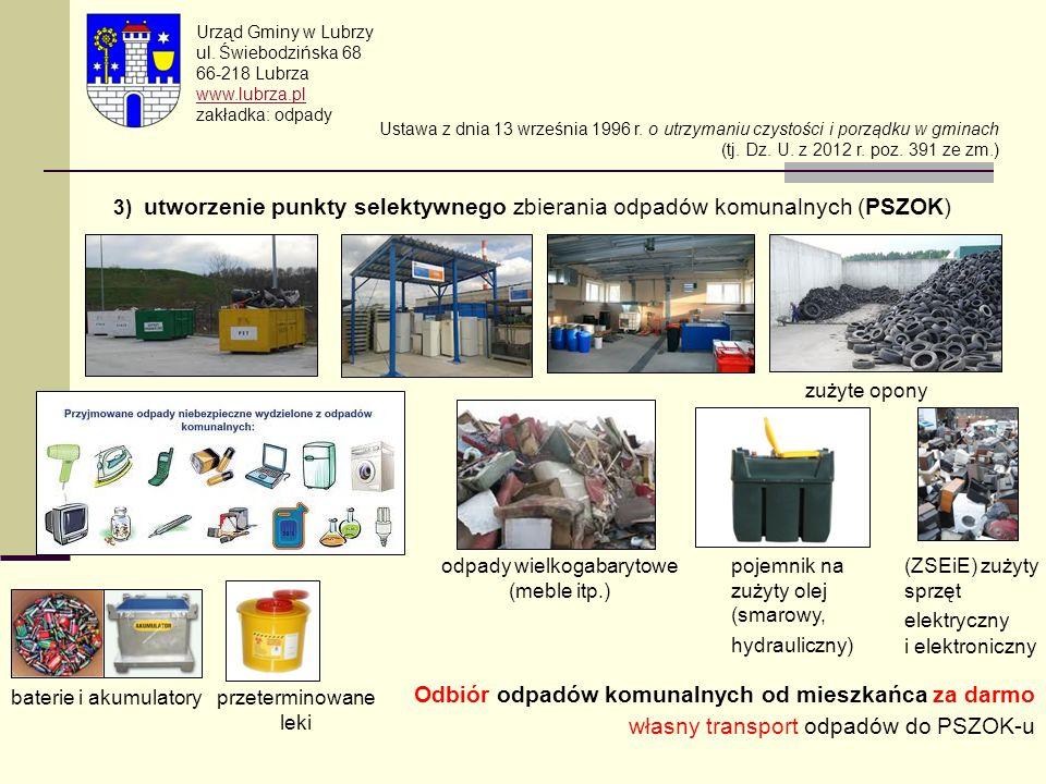 3) utworzenie punkty selektywnego zbierania odpadów komunalnych (PSZOK) Urząd Gminy w Lubrzy ul. Świebodzińska 68 66-218 Lubrza www.lubrza.pl zakładka