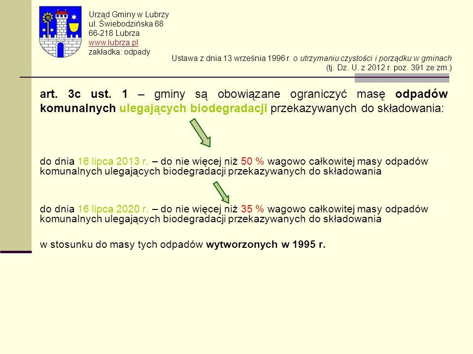 Urząd Gminy w Lubrzy ul. Świebodzińska 68 66-218 Lubrza www.lubrza.pl zakładka: odpady Ustawa z dnia 13 września 1996 r. o utrzymaniu czystości i porz