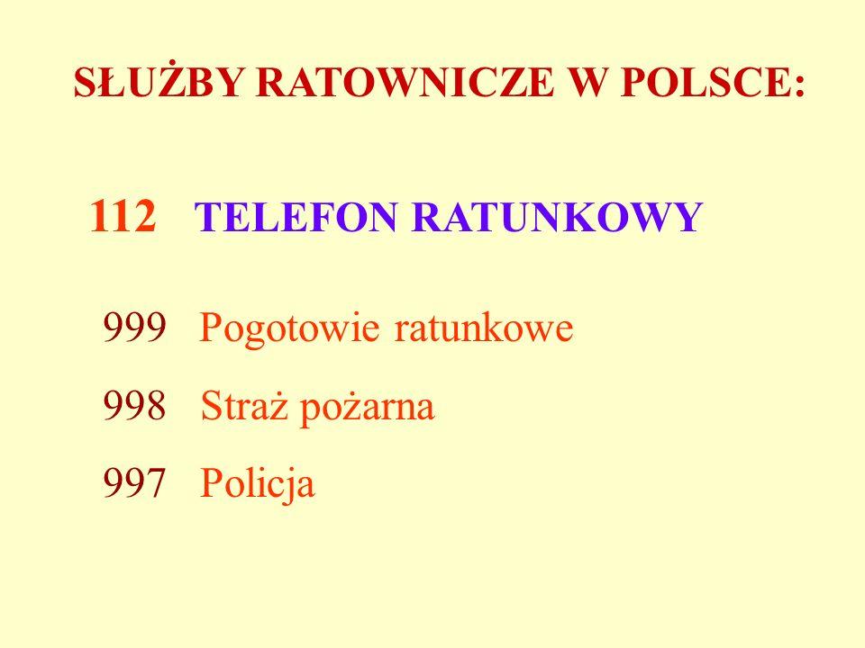 SŁUŻBY RATOWNICZE W POLSCE: 112 TELEFON RATUNKOWY 999 Pogotowie ratunkowe 998 Straż pożarna 997 Policja
