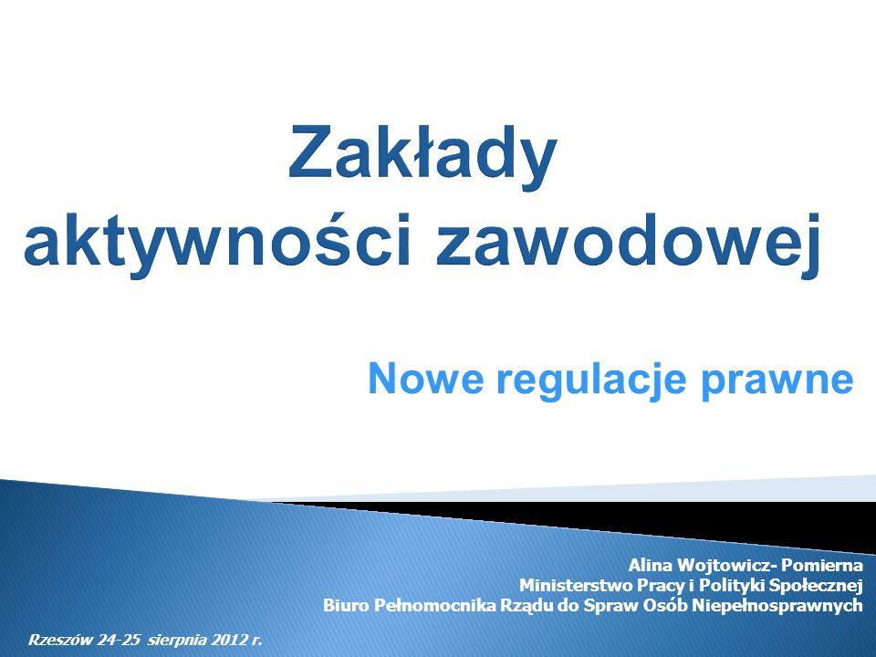 Nowe regulacje prawne Alina Wojtowicz- Pomierna Ministerstwo Pracy i Polityki Społecznej Biuro Pełnomocnika Rządu do Spraw Osób Niepełnosprawnych Rzes