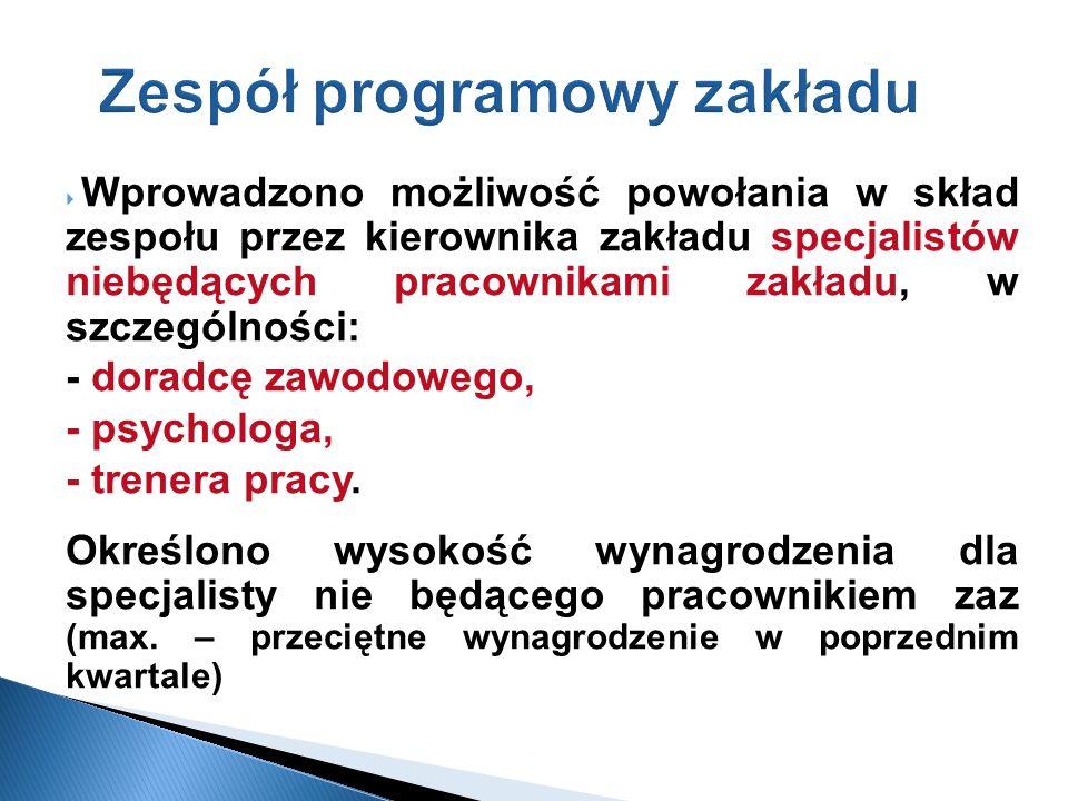 Zespół programowy zakładu Wprowadzono możliwość powołania w skład zespołu przez kierownika zakładu specjalistów niebędących pracownikami zakładu, w sz