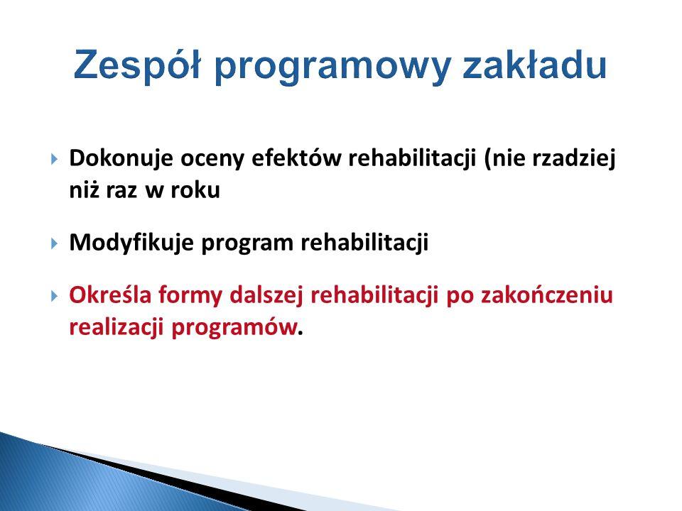 Dokonuje oceny efektów rehabilitacji (nie rzadziej niż raz w roku Modyfikuje program rehabilitacji Określa formy dalszej rehabilitacji po zakończeniu
