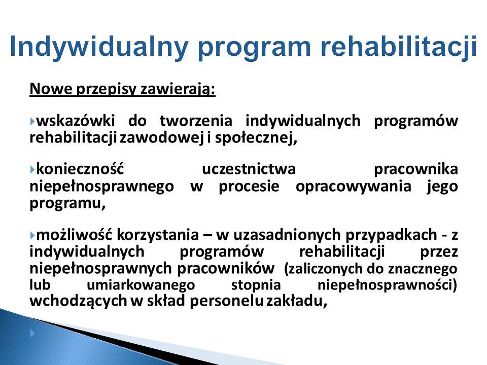 Nowe przepisy zawierają: wskazówki do tworzenia indywidualnych programów rehabilitacji zawodowej i społecznej, konieczność uczestnictwa pracownika nie