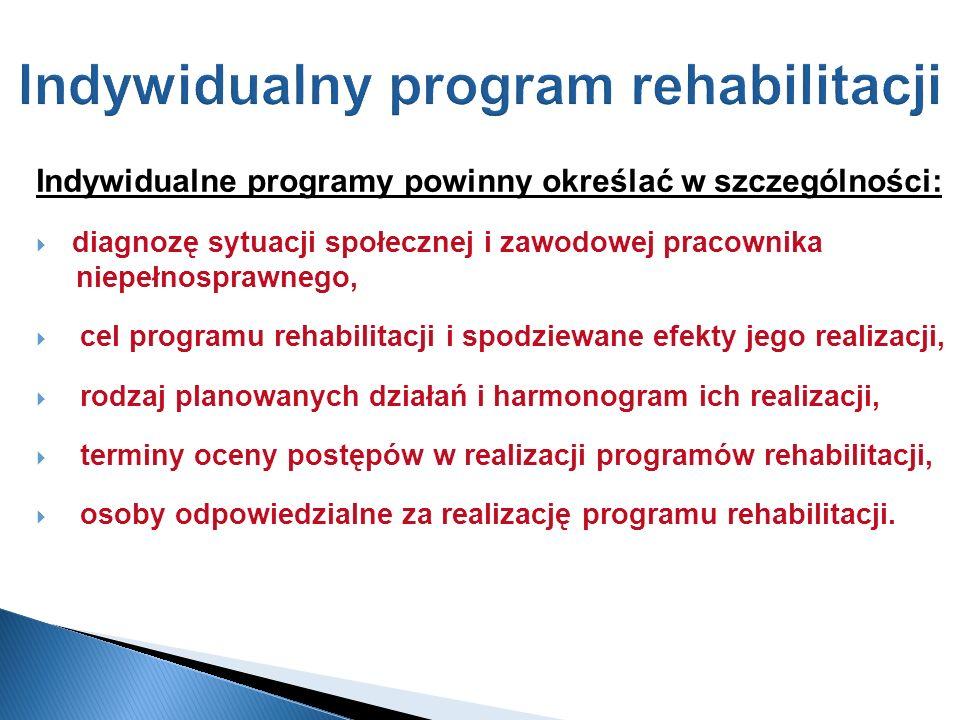 Indywidualny program rehabilitacji Indywidualne programy powinny określać w szczególności: diagnozę sytuacji społecznej i zawodowej pracownika niepełn