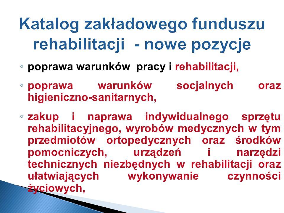 Katalog zakładowego funduszu rehabilitacji - nowe pozycje poprawa warunków pracy i rehabilitacji, poprawa warunków socjalnych oraz higieniczno-sanitar