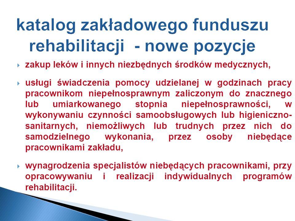 katalog zakładowego funduszu rehabilitacji - nowe pozycje zakup leków i innych niezbędnych środków medycznych, usługi świadczenia pomocy udzielanej w