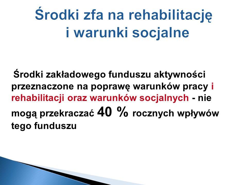 Środki zfa na rehabilitację i warunki socjalne Środki zakładowego funduszu aktywności przeznaczone na poprawę warunków pracy i rehabilitacji oraz waru
