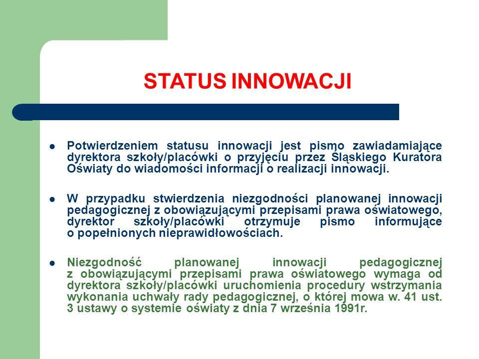 STATUS INNOWACJI Potwierdzeniem statusu innowacji jest pismo zawiadamiające dyrektora szkoły/placówki o przyjęciu przez Śląskiego Kuratora Oświaty do