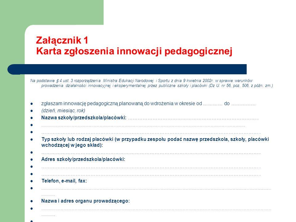 Załącznik 1 Karta zgłoszenia innowacji pedagogicznej Na podstawie § 4 ust. 3 rozporządzenia Ministra Edukacji Narodowej i Sportu z dnia 9 kwietnia 200