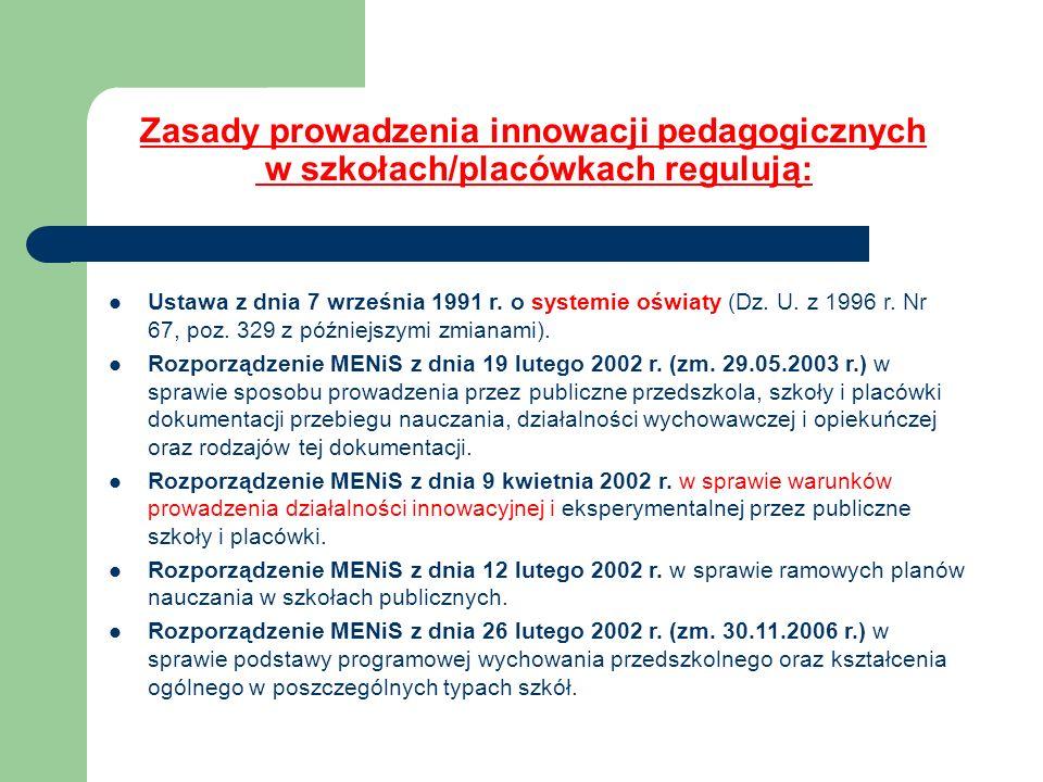 Zasady prowadzenia innowacji pedagogicznych w szkołach/placówkach regulują: Ustawa z dnia 7 września 1991 r. o systemie oświaty (Dz. U. z 1996 r. Nr 6