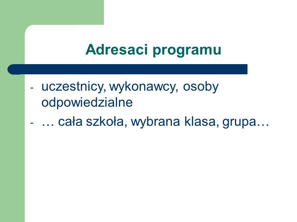 Adresaci programu - uczestnicy, wykonawcy, osoby odpowiedzialne - … cała szkoła, wybrana klasa, grupa…