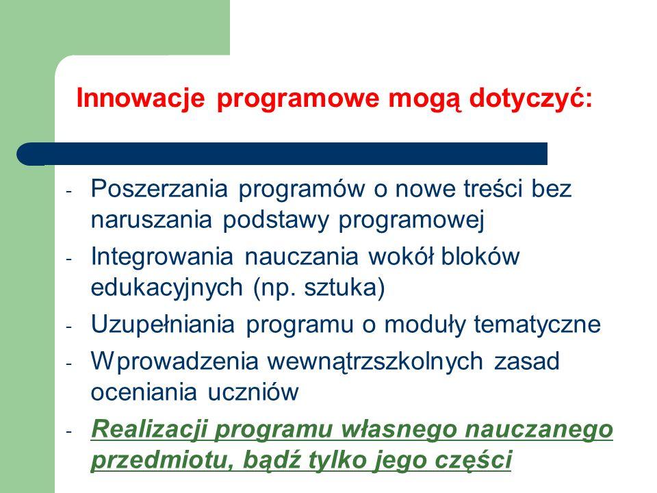 Innowacje programowe mogą dotyczyć: - Poszerzania programów o nowe treści bez naruszania podstawy programowej - Integrowania nauczania wokół bloków ed