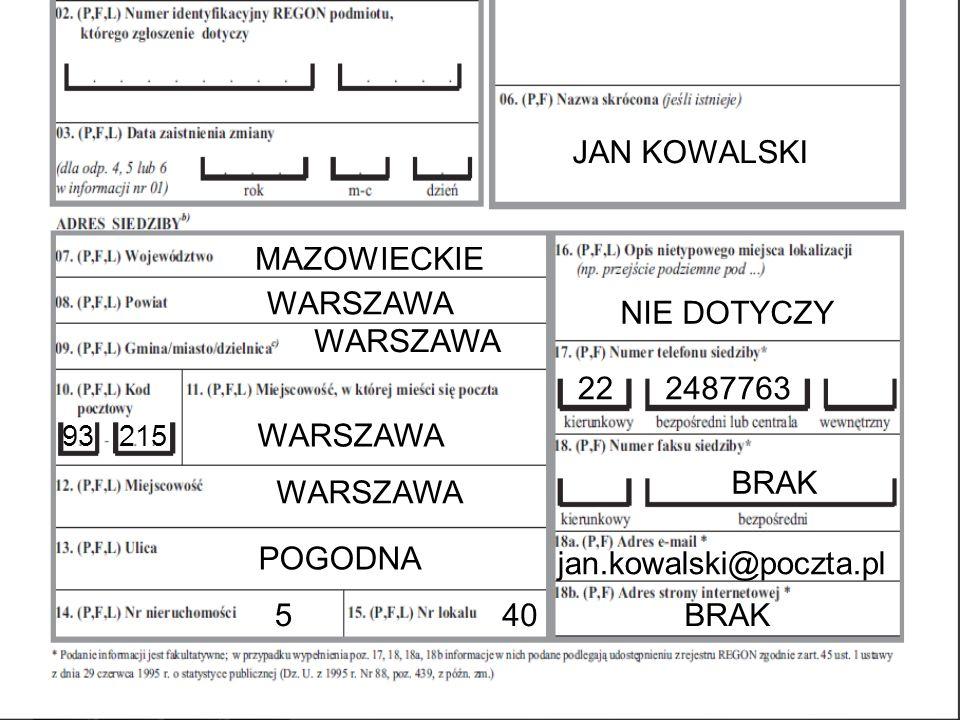 MAZOWIECKIE WARSZAWA 93 215 WARSZAWA POGODNA 5 40 NIE DOTYCZY 22 2487763 BRAK jan.kowalski@poczta.pl BRAK