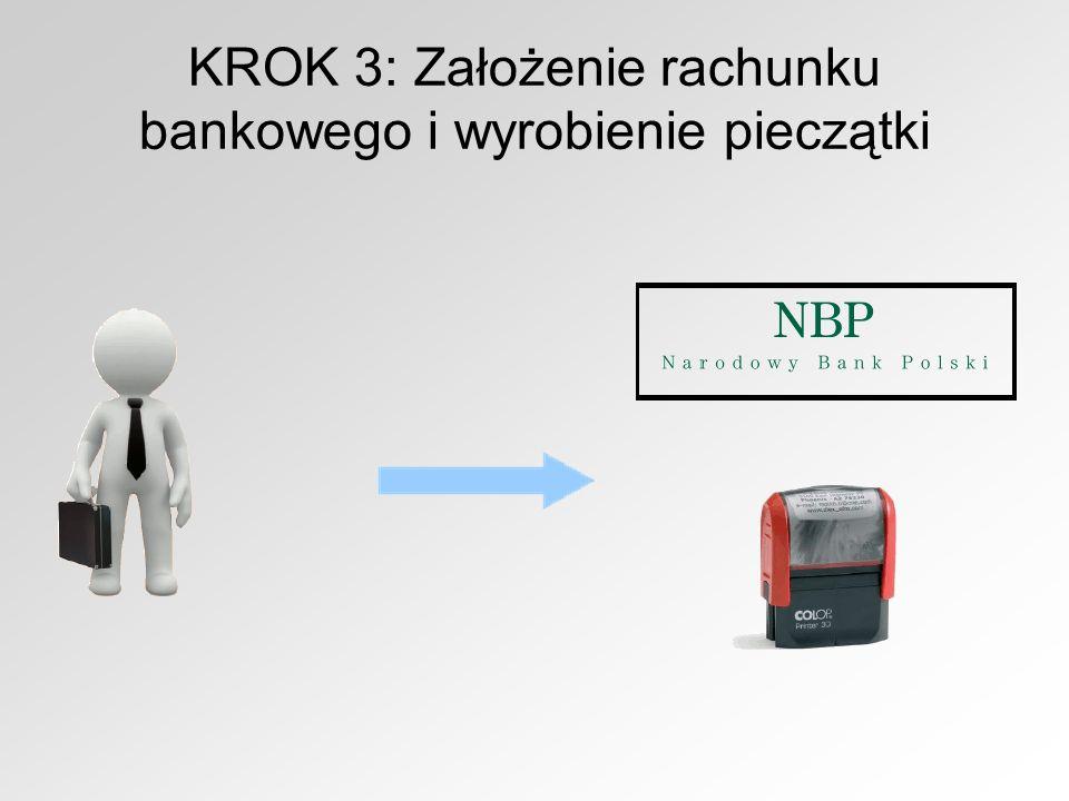 KROK 3: Założenie rachunku bankowego i wyrobienie pieczątki