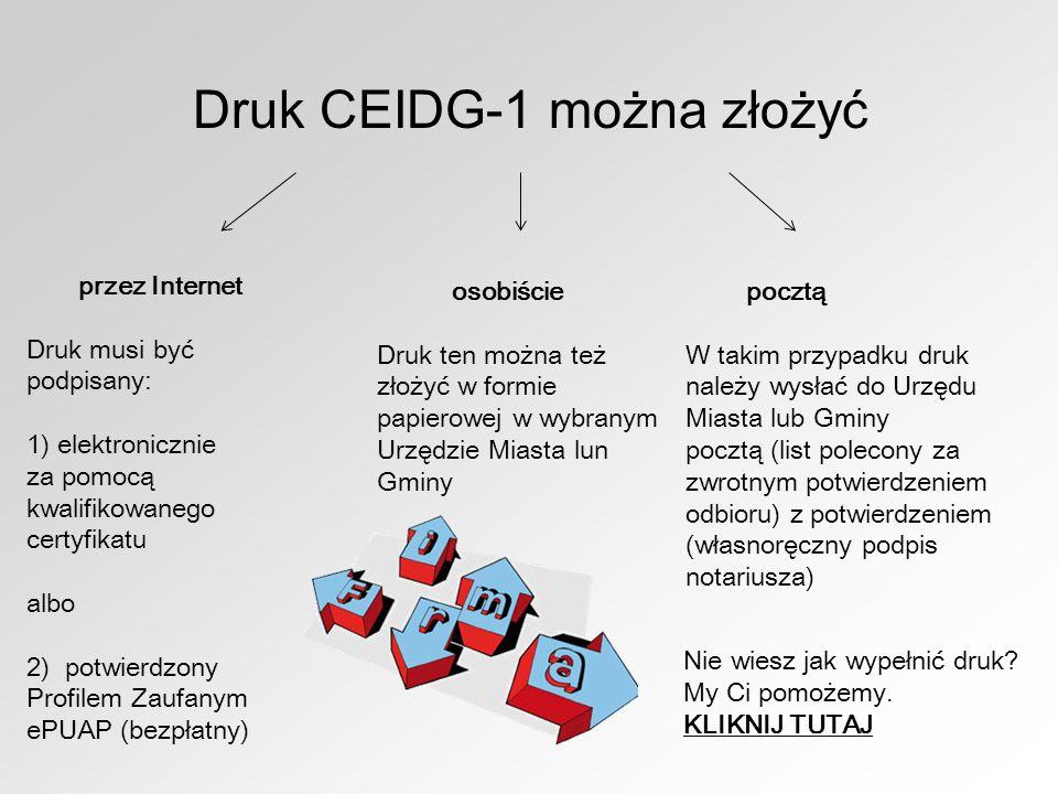 Druk CEIDG-1 można złożyć przez Internet Druk musi być podpisany: 1) elektronicznie za pomocą kwalifikowanego certyfikatu albo 2) potwierdzony Profile