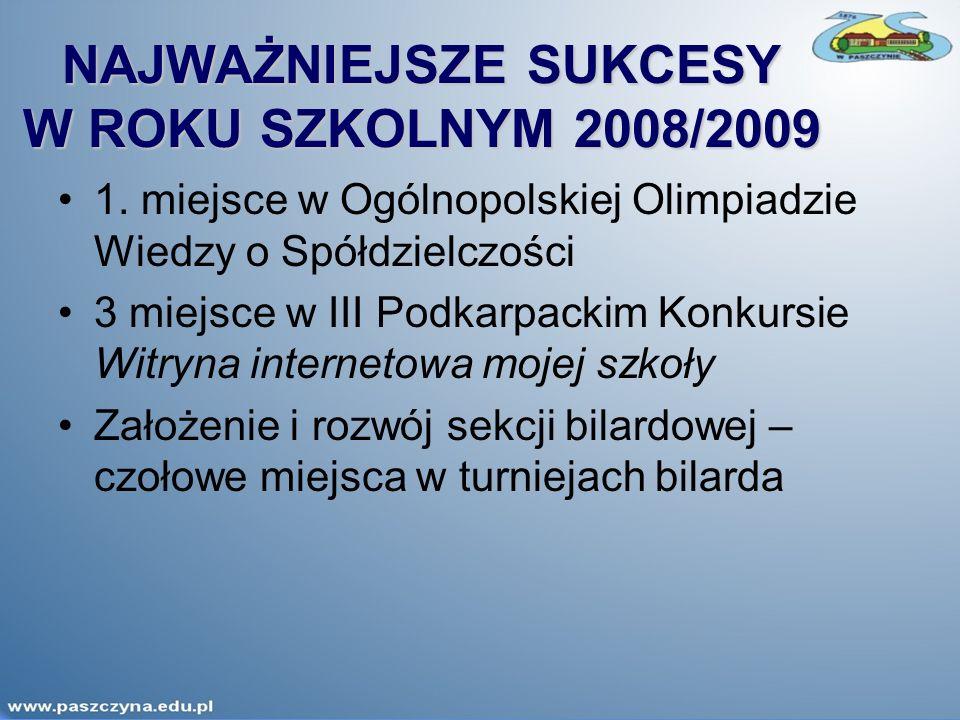 NAJWAŻNIEJSZE SUKCESY W ROKU SZKOLNYM 2008/2009 1.