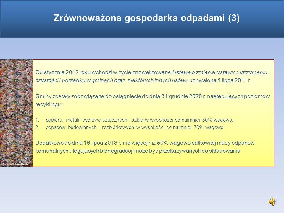 Zadania gmin w gospodarce odpadami (cd.): tworzenie warunków do wykonywania prac związanych z utrzymaniem czystości i porządku na terenie gminy lub za