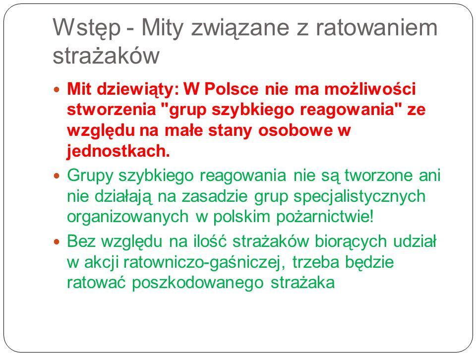 Wstęp - Mity związane z ratowaniem strażaków Mit dziewiąty: W Polsce nie ma możliwości stworzenia