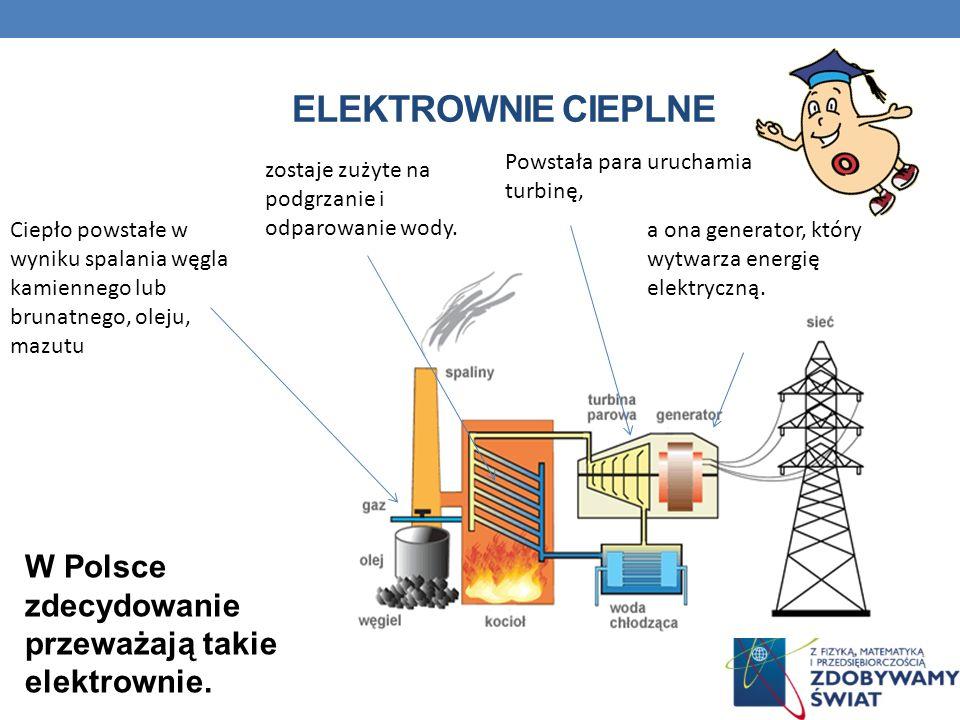 ELEKTROWNIE CIEPLNE W Polsce zdecydowanie przeważają takie elektrownie. Ciepło powstałe w wyniku spalania węgla kamiennego lub brunatnego, oleju, mazu