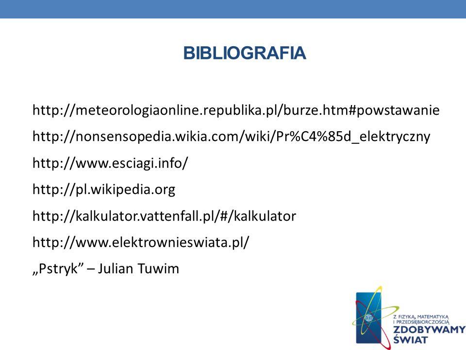 BIBLIOGRAFIA http://meteorologiaonline.republika.pl/burze.htm#powstawanie http://nonsensopedia.wikia.com/wiki/Pr%C4%85d_elektryczny http://www.esciagi