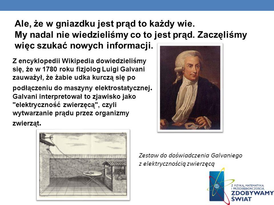 Z encyklopedii Wikipedia dowiedzieliśmy się, że w 1780 roku fizjolog Luigi Galvani zauważył, że żabie udka kurczą się po podłączeniu do maszyny elektr
