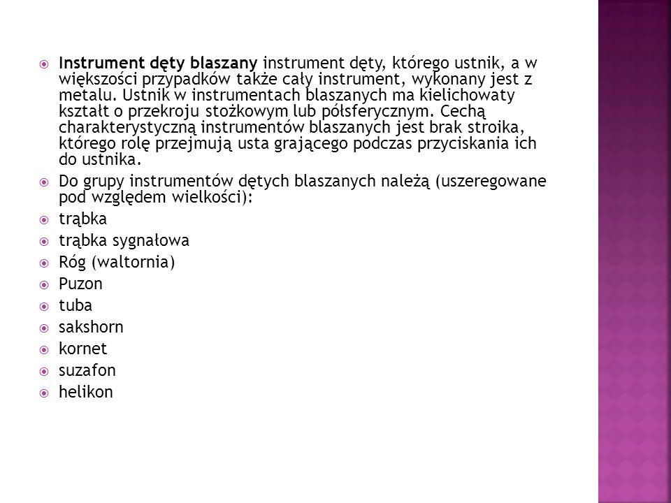 Instrument dęty blaszany instrument dęty, którego ustnik, a w większości przypadków także cały instrument, wykonany jest z metalu. Ustnik w instrument