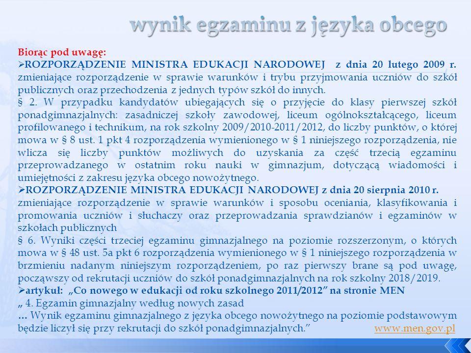 Biorąc pod uwagę: ROZPORZĄDZENIE MINISTRA EDUKACJI NARODOWEJ z dnia 20 lutego 2009 r. zmieniające rozporządzenie w sprawie warunków i trybu przyjmowan