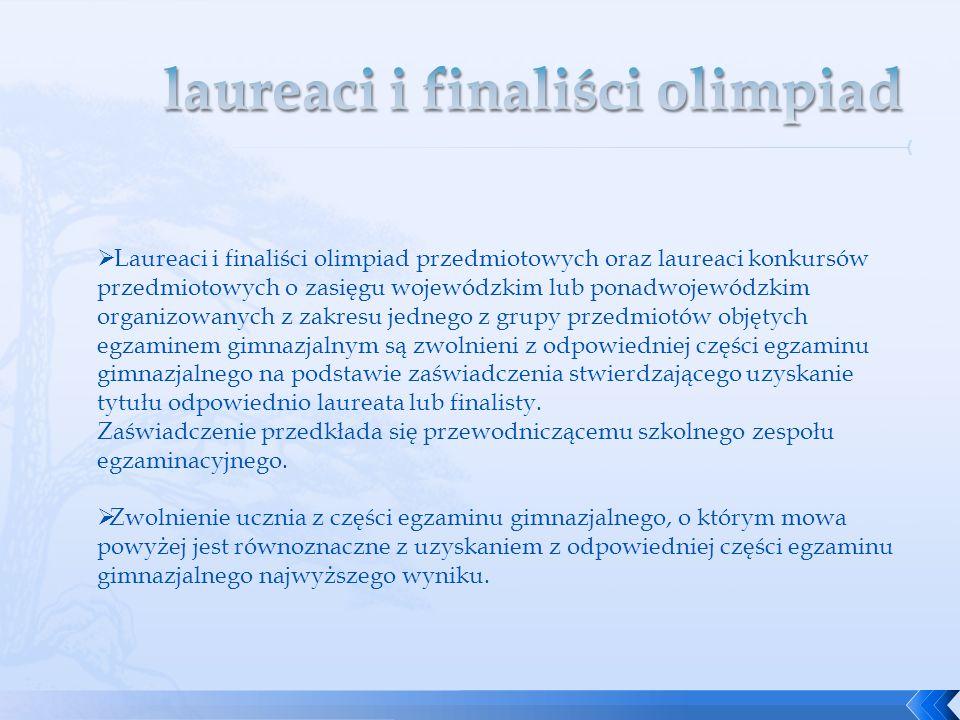 Laureaci i finaliści olimpiad przedmiotowych oraz laureaci konkursów przedmiotowych o zasięgu wojewódzkim lub ponadwojewódzkim organizowanych z zakres