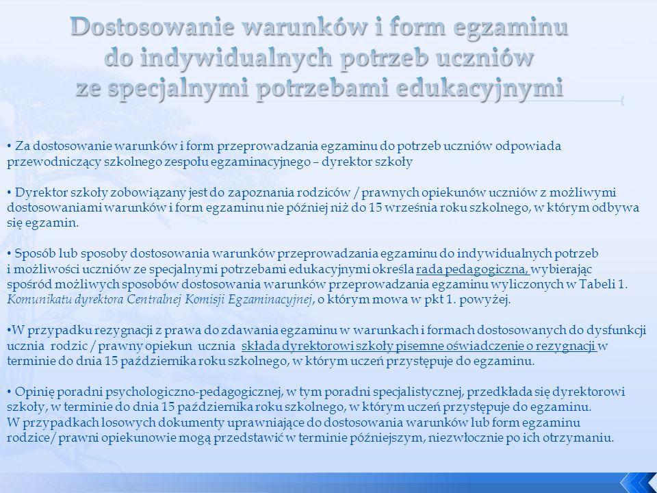 Za dostosowanie warunków i form przeprowadzania egzaminu do potrzeb uczniów odpowiada przewodniczący szkolnego zespołu egzaminacyjnego – dyrektor szko