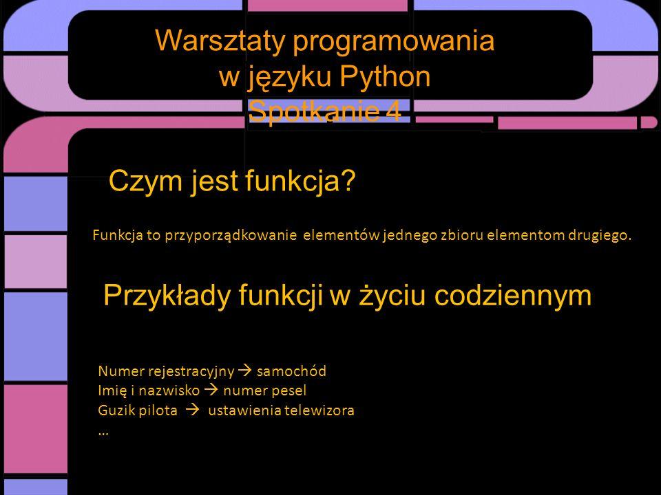 Spotkanie Warsztaty programowania w języku Python Spotkanie 4 Funkcje w matematyce Przyporządkowywane wzory nazywamy odpowiednio dziedziną i przeciwdziedziną funkcji.