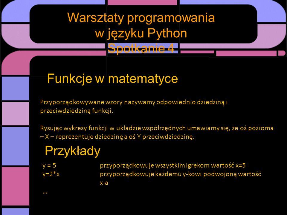 Spotkanie Warsztaty programowania w języku Python Spotkanie 4 Funkcje w matematyce – funkcje liniowe Każdą funkcję postaci y = a * x + b Czyli przyporządkowującą y wartość x przemnożoną przez pewną stałą liczbę a i powiększoną o inną stałą b nazywamy funkcją liniową