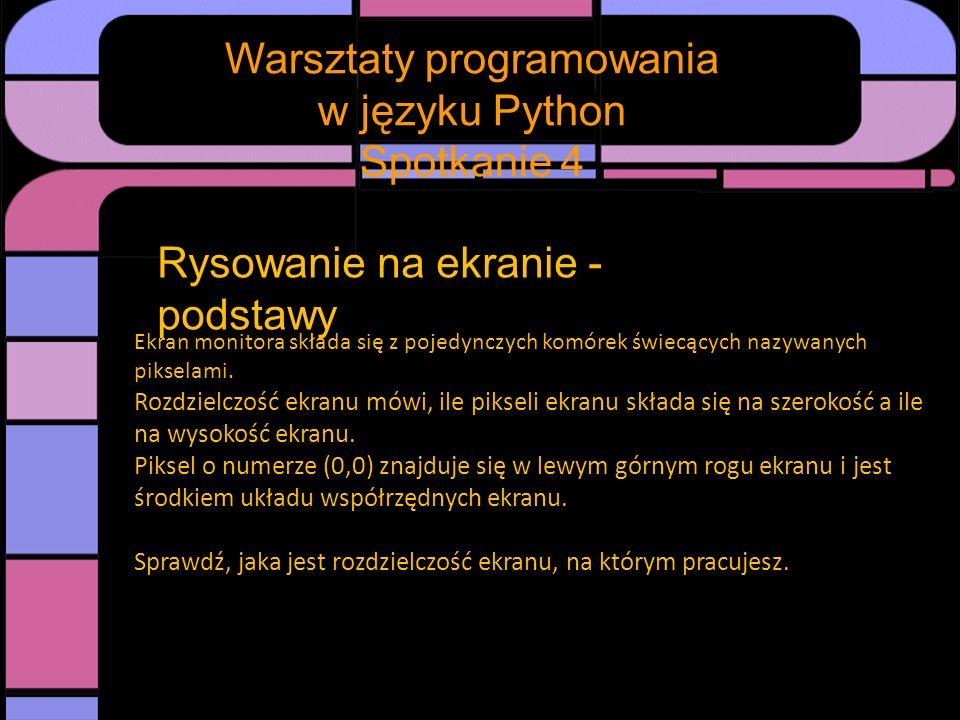 Spotkanie Warsztaty programowania w języku Python Spotkanie 4 Rysowanie na ekranie – podstawowe pojęcia i funkcje Punkt – ma dwie współrzędne zapisywane jako (współrzędna x, współrzędna y).