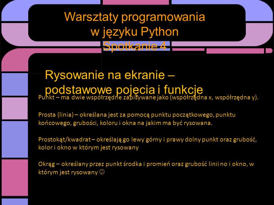 Spotkanie Warsztaty programowania w języku Python Spotkanie 4 Rysowanie na ekranie – podstawowe pojęcia i funkcje Od teorii do praktyki: 1.