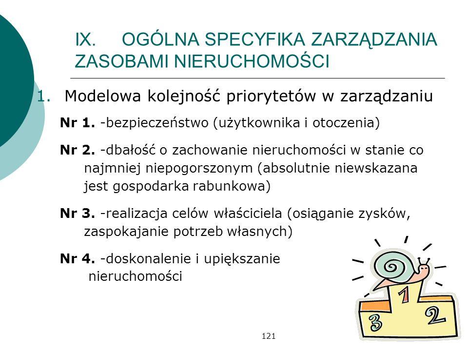 121 IX.OGÓLNA SPECYFIKA ZARZĄDZANIA ZASOBAMI NIERUCHOMOŚCI 1.Modelowa kolejność priorytetów w zarządzaniu Nr 1. -bezpieczeństwo (użytkownika i otoczen