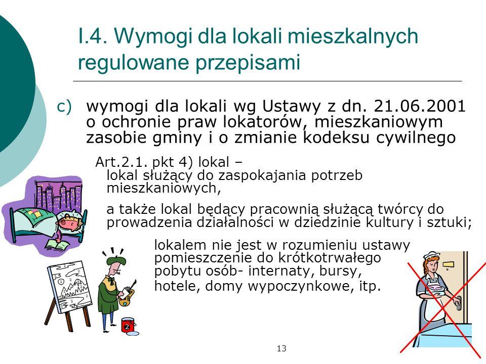 13 I.4. Wymogi dla lokali mieszkalnych regulowane przepisami c)wymogi dla lokali wg Ustawy z dn. 21.06.2001 o ochronie praw lokatorów, mieszkaniowym z