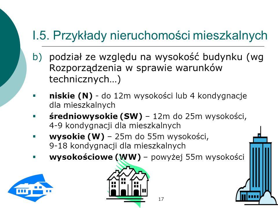 17 I.5. Przykłady nieruchomości mieszkalnych b)podział ze względu na wysokość budynku (wg Rozporządzenia w sprawie warunków technicznych…) niskie (N)