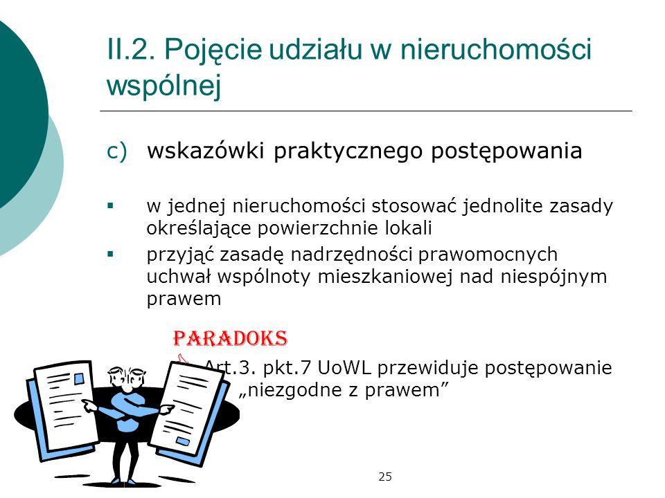 25 II.2. Pojęcie udziału w nieruchomości wspólnej c)wskazówki praktycznego postępowania w jednej nieruchomości stosować jednolite zasady określające p