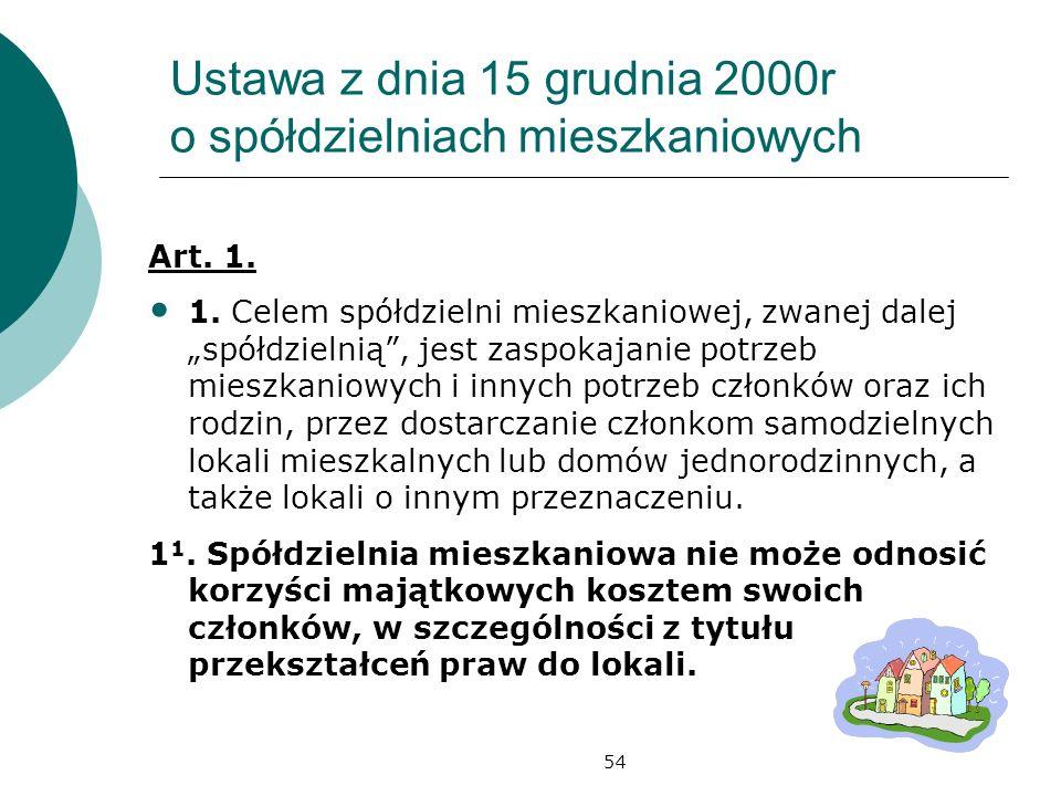 54 Ustawa z dnia 15 grudnia 2000r o spółdzielniach mieszkaniowych Art. 1. 1. Celem spółdzielni mieszkaniowej, zwanej dalej spółdzielnią, jest zaspokaj